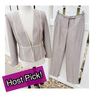 Kasper Jacket Pantsuit Blazer Set Silver Gray
